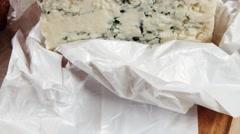 Deli fresh blue stilton cheese and rye ciabatta Stock Footage