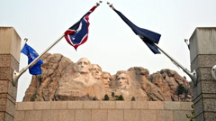 Mount Rushmore and Flags Stock Footage