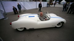 "racing bolide ""Estonia-8"" presented at ""Oldtimer gallery"" - stock footage"