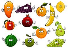 Cartoon happy fresh fruits characters - stock illustration