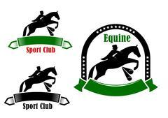 Sporting emblems of equestrian club Stock Illustration