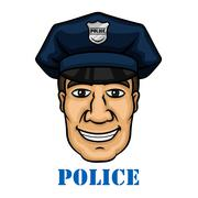 Stock Illustration of Happy police officer in blue uniform