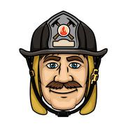 Firefighter or fireman in protective helmet Stock Illustration