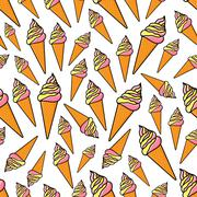 Fruity and vanilla ice cream seamlss pattern - stock illustration