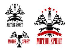Motor race icons with trophy and spark plug Stock Illustration
