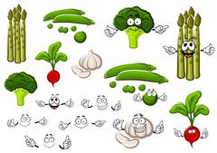 Pea, garlic, broccoli, radish and asparagus - stock illustration