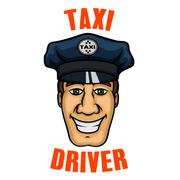 Taxi driver in uniform peaked cap Stock Illustration