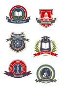 College, university, school and academy signs Stock Illustration