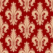 Victorian seamless fleur-de-lis red pattern Stock Illustration