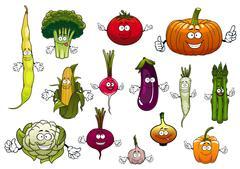 Stock Illustration of Healthy cartoon happy farm vegetables