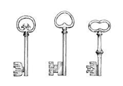Vintage skeleton keys in engraving style Stock Illustration