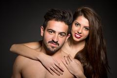 Stock Photo of Naked sexy couple in studio