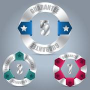 Metallic guarantee badge set with color ribbons Stock Illustration