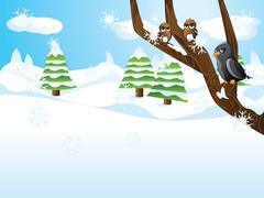 Birds on branch - stock illustration