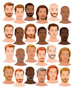 Collection of male heads with different hairstyles - stock illustration