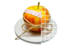 Collage of apple surrounding of measuring tape tied with twine with transpare - stock photo
