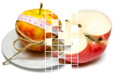 Collage of apple surrounding of measuring tape tied with twine and half of ap - stock photo