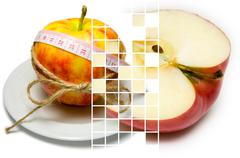 Collage of apple surrounding of measuring tape tied with twine and half of tu Stock Photos