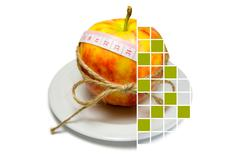 Collage of apple surrounding of measuring tape tied with twine with squares,  - stock photo