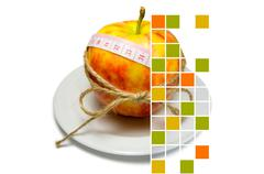 Collage of apple surrounding of measuring tape tied with twine with squares,  Stock Photos