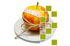 Collage of apple surrounding of measuring tape tied with twine with large squ Stock Photos