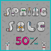 Inscription Spring Sale. Vector Illustration - stock illustration