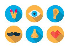 Human pieces icon in a flat design with long shadow - stock illustration