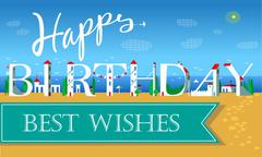 Happy Birthday Inscription. Cute white houses - stock illustration