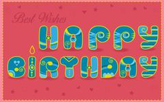 Inscription Happy Birthday. Best wishes. Funny blue and yellow Letters. Stock Illustration
