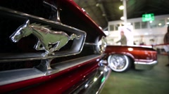 """Logo of legendary Ford Mustang car presented at """"Oldtimer gallery"""" Stock Footage"""