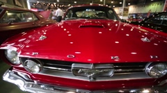 """Legendary Ford Mustang car presented at """"Oldtimer gallery"""" - stock footage"""