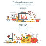 Business development and banking banner concepts in linear style design. Thin Piirros