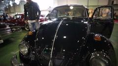 "Legendary Volkswagen Beetle retro car presented at ""Oldtimer gallery"" - stock footage"