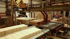 Brickworks. View on machine loads consignment Stock Footage