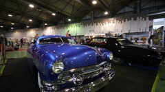 """Ford Deluxe (release 1951) retro car presented at """"Oldtimer gallery"""" Stock Footage"""