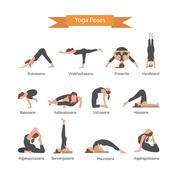 Vector set of yoga poses isolated on white background. Asana concept - stock illustration