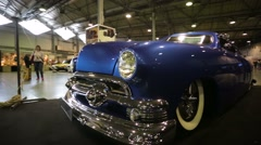"""Ford Deluxe (release 1951) retro car presented at """"Oldtimer gallery"""" - stock footage"""