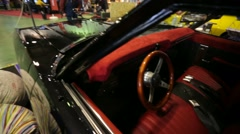 "Chevrolet impala (1968) car interior, ""Oldtimer gallery"" cars exhibition. Stock Footage"