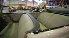 """Salon view of Opel Admiral cabriolet, presented at """"Oldtimer gallery"""" - stock footage"""
