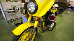 """Old soviet motocycle presented at """"Oldtimer gallery"""" Stock Footage"""