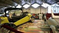 """Retro cars presented at """"Oldtimer gallery"""" cars exhibition in Sokolniki. Stock Footage"""