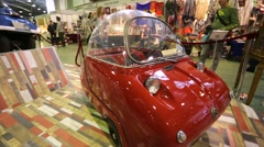"Peel Trident presented at ""Oldtimer gallery"" cars exhibition. Stock Footage"