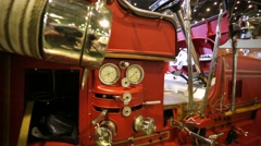"""Seagrave fire truck (1927) presented at the """"Oldtimer gallery"""" cars exhibition. - stock footage"""