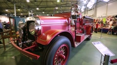 """Seagrave fire truck (1927) presented at the """"Oldtimer gallery"""" cars exhibition. Stock Footage"""