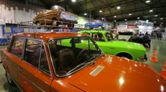 "VAZ Lada soviet retro cars presented at ""Oldtimer gallery"" - stock footage"