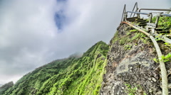 Time lapse stairway from koolau ko'olau mountain ridge Stock Footage