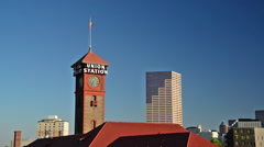 Stock Video Footage of Union Station and Downtown