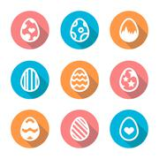 Easter egg icon set in a flat design with long shadow isolated Stock Illustration