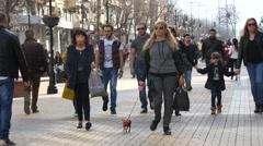 Walking with a little pet dog dawn the public pedestrian street Stock Footage