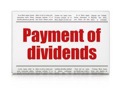 Banking concept: newspaper headline Payment Of Dividends Stock Illustration